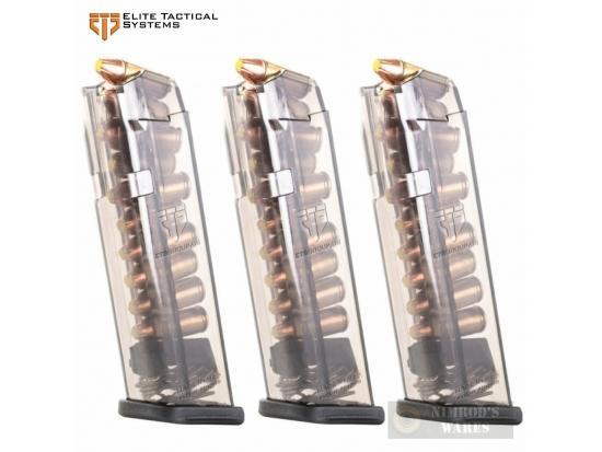 Магазин ETS Glock 17 18 19 19X 26 34 45 Gen1-5 9mm 10 Round MAGAZINE 3-PACK GLK-17-10