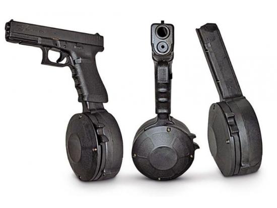 Магазин барабанный Glock (G17, G34, G19, G26) универсальный на 50 патрона (бубен) 9x19 Корея (GL-T1244)